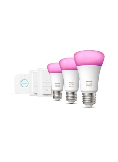 Philips Hue Renkli E27 Duylu Kumandalı Bluetooth Özellikli 3lü Akıllı Başlangıç Seti Renkli